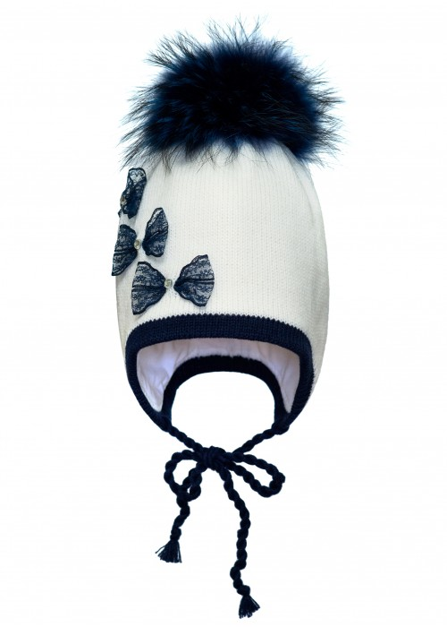 Шапка HATTY Бантики ажурные (54см) Белый с темно синим (3/1-10-3б)