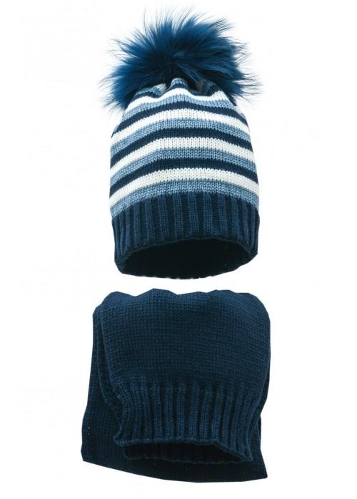 Комплект (шапка и шарф) HATTY (54 см) Темно-синий/синий светлый меланж/белый (1мп/10-11-1)