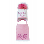 Комплект (шапка и шарф) HATTY Бант розовый (54 см) Белый с розовым (3/1-4-11р)