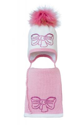 Комплект (шапка и шарф) HATTY Бант розовый (52 см) Белый с розовым (3/1-4-11р)