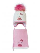 Комплект (шапка и шарф) HATTY Китти в платье (48 см) Молочный с розовым (3/2-4-2)