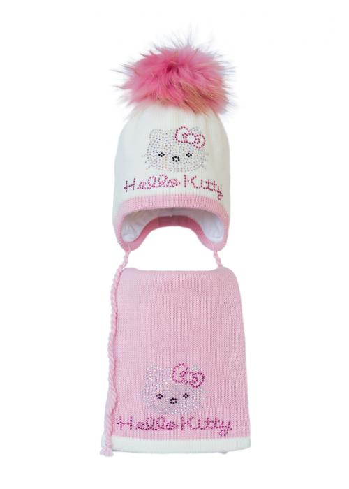Комплект (шапка и шарф) HATTY Hello Kitty розовая (52 см) Молочный с розовым (3/2-4-1р)
