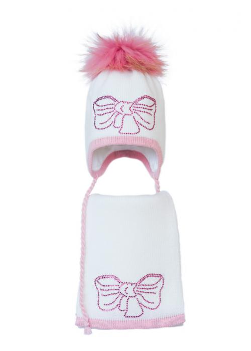 Комплект (шапка и шарф) HATTY Бант розовый (50 см) Белый с розовым (3/1-4-11р)