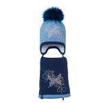 Комплект (шапка и шарф) HATTY Бабочка с узором (48 см) Синий светлый меланж с темно-синим (3/11-10-10)