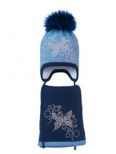 Комплект (шапка и шарф) HATTY Бабочка с узором (52 см) Синий светлый меланж с темно-синим (3/11-10-10)