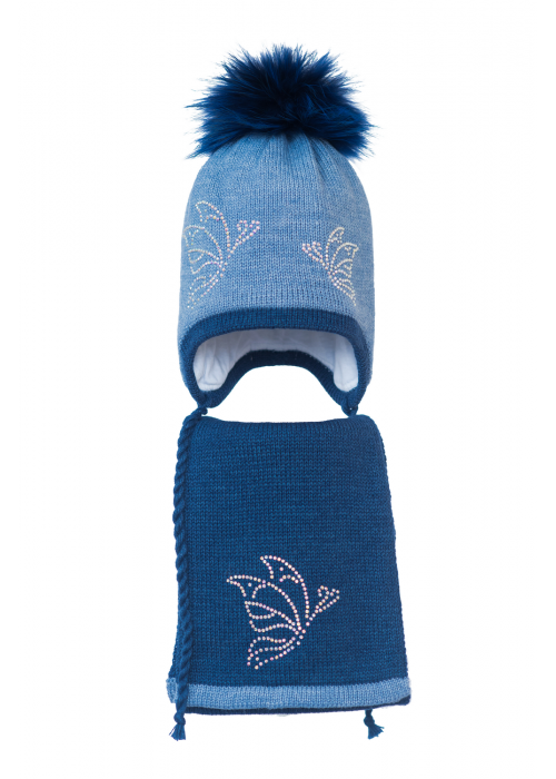 Комплект (шапка и шарф) HATTY Бабочки (54 см) Синий светлый меланж с темно-синим меланжем (3/11-12-9)