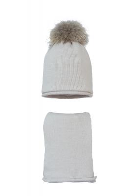 Комплект (шапка и шарф) HATTY (54 см) Жемчуг (9/3)