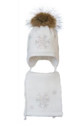 Комплект (шапка и шарф) HATTY Снежинка 4+1 (50 см) Белый (3/1-7)