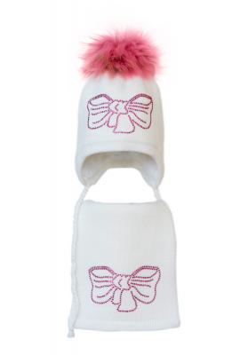Комплект (шапка и шарф) HATTY Бант розовый (54 см) Белый (3/1-11р)