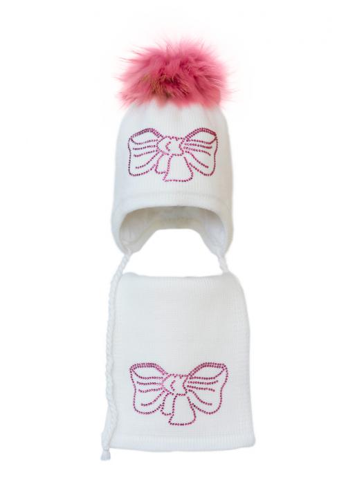 Комплект (шапка и шарф) HATTY Бант розовый (48 см) Белый (3/1-11р)