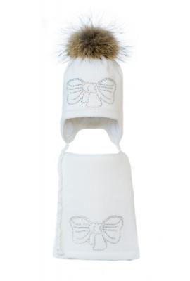 Комплект (шапка и шарф) HATTY Бант серебро (48 см) Белый (3/1-11с)