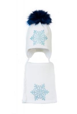 Комплект (шапка и шарф) HATTY Снежинка 6 голубая (54 см) Белый (3/1-6г)