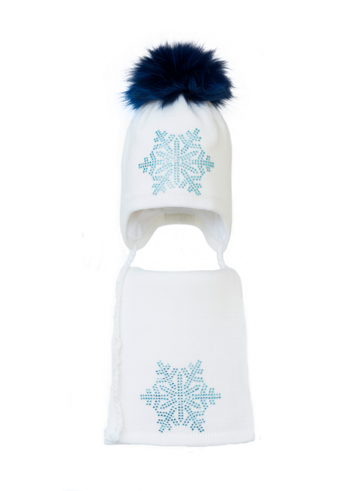 Комплект (шапка и шарф) HATTY Снежинка 6 голубая (50 см) Белый (3/1-6г)