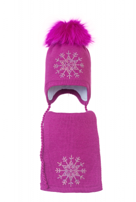 Комплект (шапка и шарф) HATTY Снежинка 3 (54 см) Фуксия (3/14-8)