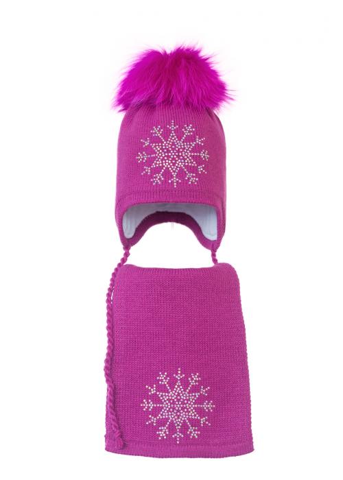 Комплект (шапка и шарф) HATTY Снежинка 3 (52 см) Фуксия (3/14-8)