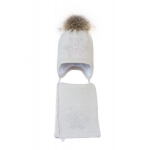 Комплект (шапка и шарф) HATTY Снежинка 6 серебро (46 см) Жемчуг (3/3-6с)