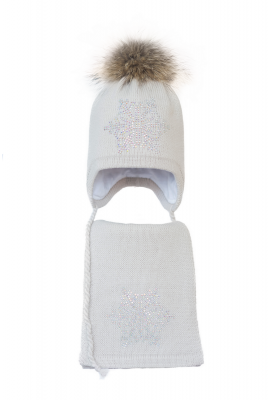 Комплект (шапка и шарф) HATTY Снежинка 6 серебро (52 см) Жемчуг (3/3-6с)
