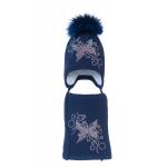 Комплект (шапка и шарф) HATTY Бабочка с узором (52 см) Темно-синий (3/10-10)
