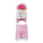 Комплект (шапка и шарф) HATTY Мини Маус (48 см) Молочный с розовым (3/2-4-4)