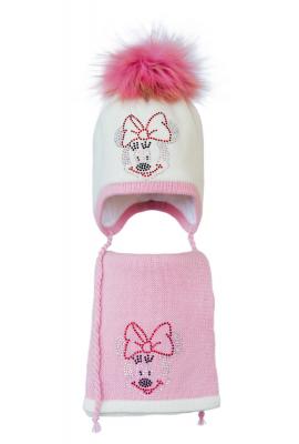 Комплект (шапка и шарф) HATTY Мини Маус (50 см) Молочный с розовым (3/2-4-4)