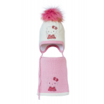Комплект (шапка и шарф) HATTY Китти в платье (54 см) Молочный с розовым (3/2-4-2)