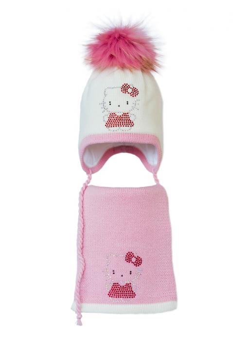 Комплект (шапка и шарф) HATTY Китти в платье (52 см) Молочный с розовым (3/2-4-2)