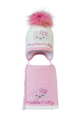 Комплект (шапка и шарф) HATTY Hello Kitty розовая (54 см) Молочный с розовым (3/2-4-1р)