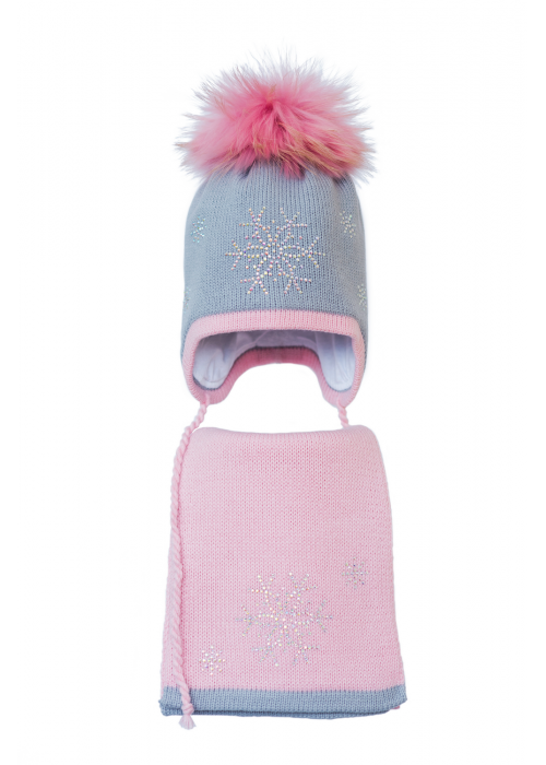 Комплект (шапка и шарф) HATTY Снежинка 4+1 (54 см) Ангора с розовым (3/5-4-7)