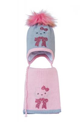 Комплект (шапка и шарф) HATTY Китти на бантике (52 см) Ангора с розовым (3/5-4-3)
