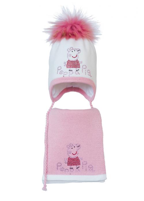 Комплект (шапка и шарф) HATTY Свинка Пеппа (48 см) Белый с розовым (3/1-4-5)