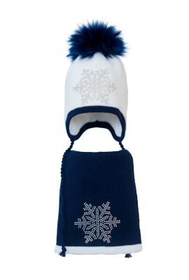 Комплект (шапка и шарф) HATTY Снежинка 6 серебро (52 см) Белый с темно синим (3/1-10-6с)