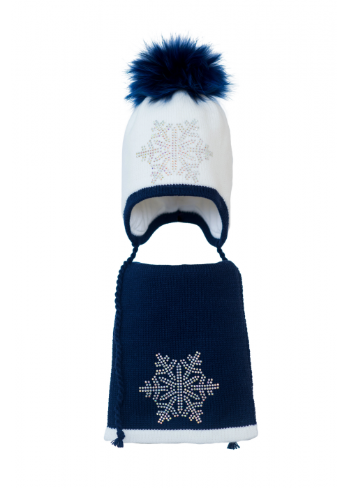 Комплект (шапка и шарф) HATTY Снежинка 6 серебро (50 см) Белый с темно синим (3/1-10-6с)