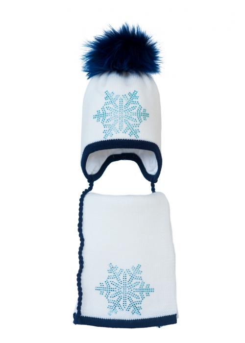 Комплект (шапка и шарф) HATTY Снежинка 6 голубая (52 см) Белый с темно синим (3б.ш/1-10-6г)