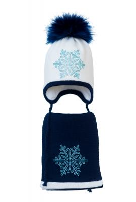 Комплект (шапка и шарф) HATTY Снежинка 6 голубая (54 см) Белый с темно синим (3/1-10-6г)