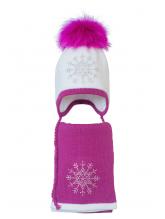 Комплект (шапка и шарф) HATTY Снежинка 3 (54 см) Белый с фуксией (3/1-14-8)