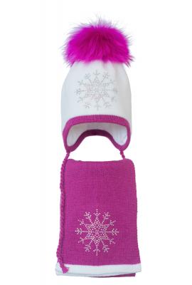 Комплект (шапка и шарф) HATTY Снежинка 3 (52 см) Белый с фуксией (3/1-14-8)