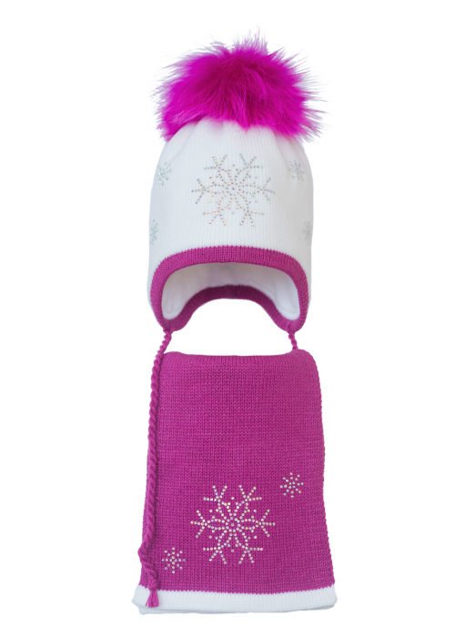 Комплект (шапка и шарф) HATTY Снежинка 4+1 (46 см) Белый с фуксией (3/1-14-7)