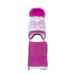 Комплект (шапка и шарф) HATTY Бант малиновый (50 см) Белый с фуксией (3/1-14-11м)