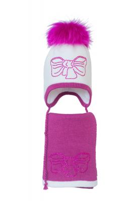 Комплект (шапка и шарф) HATTY Бант малиновый (48 см) Белый с фуксией (3/1-14-11м)