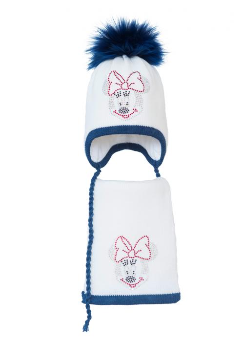 Комплект (шапка и шарф) HATTY Мини Маус (50 см) Белый с синим темным меланжем (3б.ш/1-12-4)