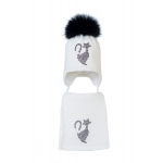 Комплект (шапка и шарф) HATTY Кот (54 см) Белый (3/1-1б-12ч)