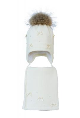 Комплект (шапка и шарф) HATTY Бантики и Бусины (52 см) Молочный (3/2-7б-11пб)