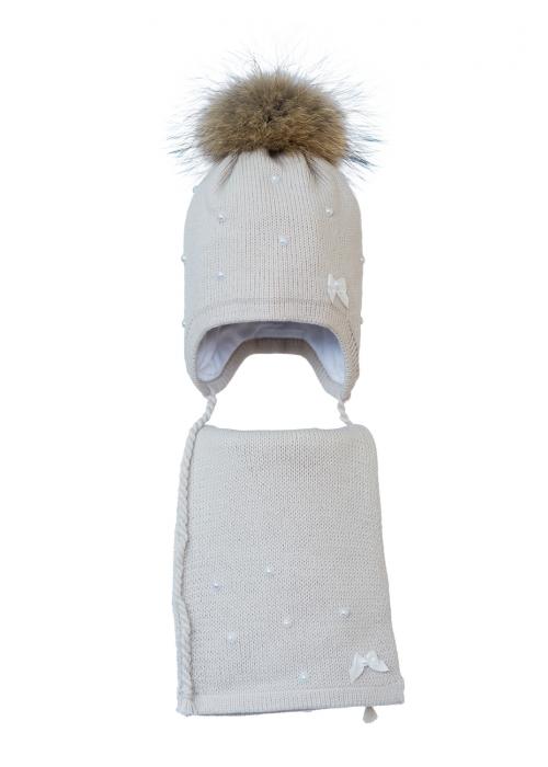 Комплект (шапка и шарф) HATTY Бантики и Бусины (52 см) Жемчуг (3/3-1б-17пб)