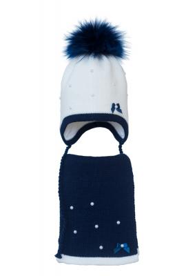 Комплект (шапка и шарф) HATTY Бантики и Бусины (54 см) Белый с темно-синим (3/1-10-1б-17пб)