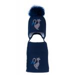 Комплект (шапка и шарф) HATTY Кот (54 см) Темно-синий (3/10-1б-12с)