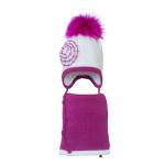 Комплект (шапка и шарф) HATTY Модель 6 Цветы (52см) Белый с фуксией (6/1-14-1ц)
