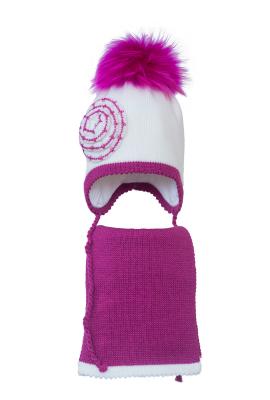 Комплект (шапка и шарф) HATTY (48 см) Белый с фуксией (6/1-14-1ц)