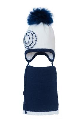 Комплект (шапка и шарф) HATTY  (52см) Белый с темно-синим (6/1-10-1ц)