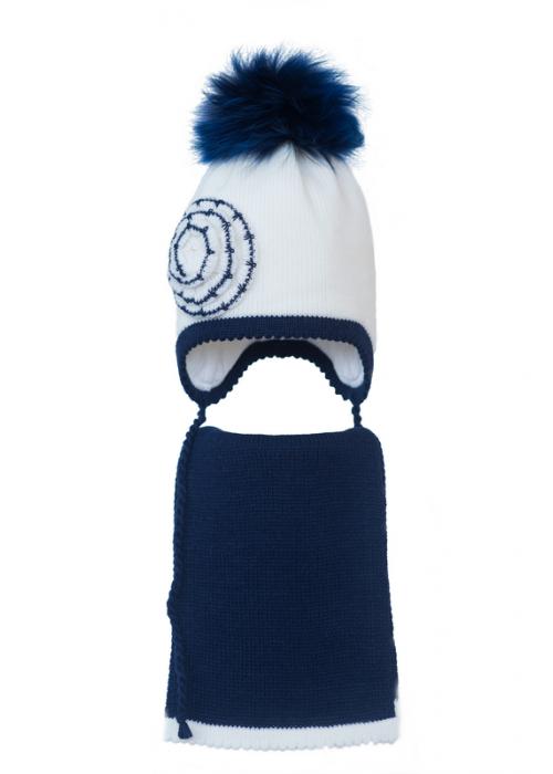 Комплект (шапка и шарф) HATTY (50см) Белый с темно-синим (6/1-10-1ц)