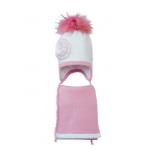 Комплект (шапка и шарф) HATTY Модель 6 Цветы (52см) Белый со светло-розовым (6/1-4-1ц)